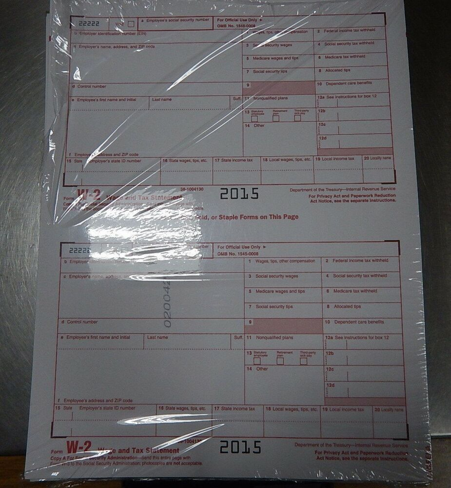 2015 10 EMPLOYEE ADAMS W-2 W2 KIT 6-PART IRS TAX FORMS