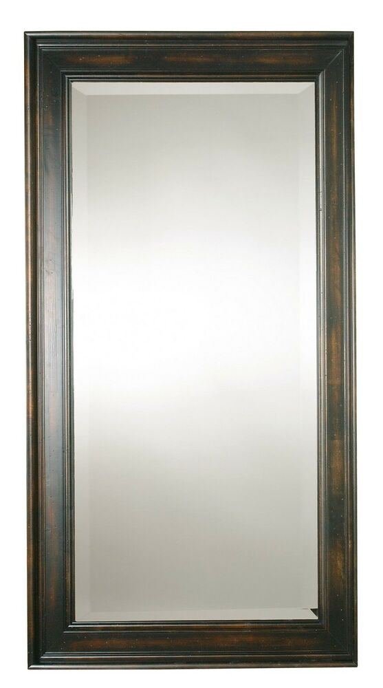 Oversize solid wood mirror black full length wall floor for Black framed floor length mirror