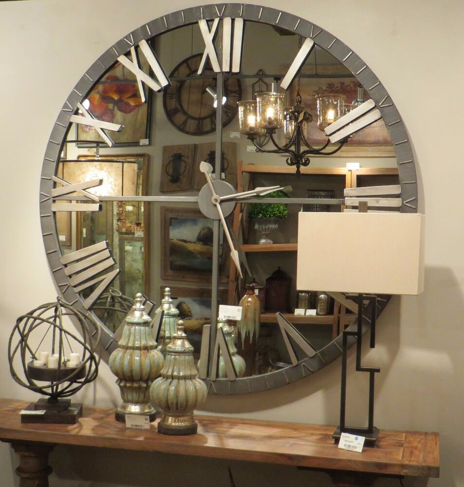 Oversized Round Wall Decor : Xl quot mirrored round wall clock oversize modern mirror
