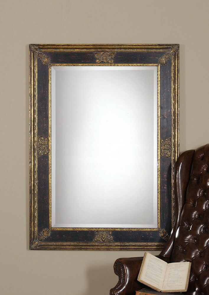 Ornate extra large black gold wall mirror masculine for Extra large mirrors