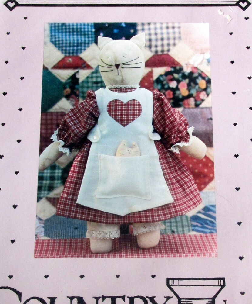 Craft: Country Threads Primitive Kitty Cat Soft Sculpture Doll