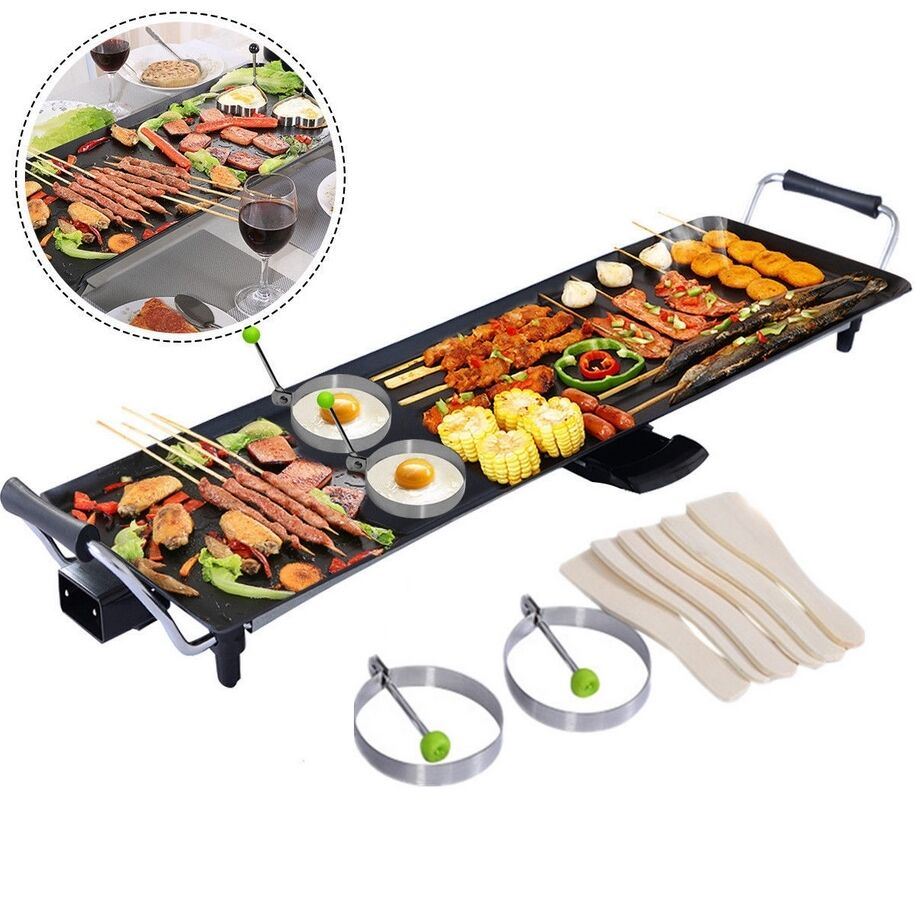 Teppanyaki electric table top grill griddle bbq barbecue spatulas egg rings xxl ebay - Table top barbecue grill ...
