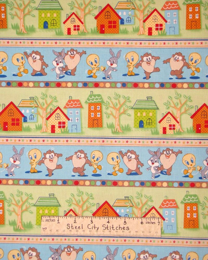 Baby looney tunes play bunny taz tweety nursery stripe for Space baby fabric