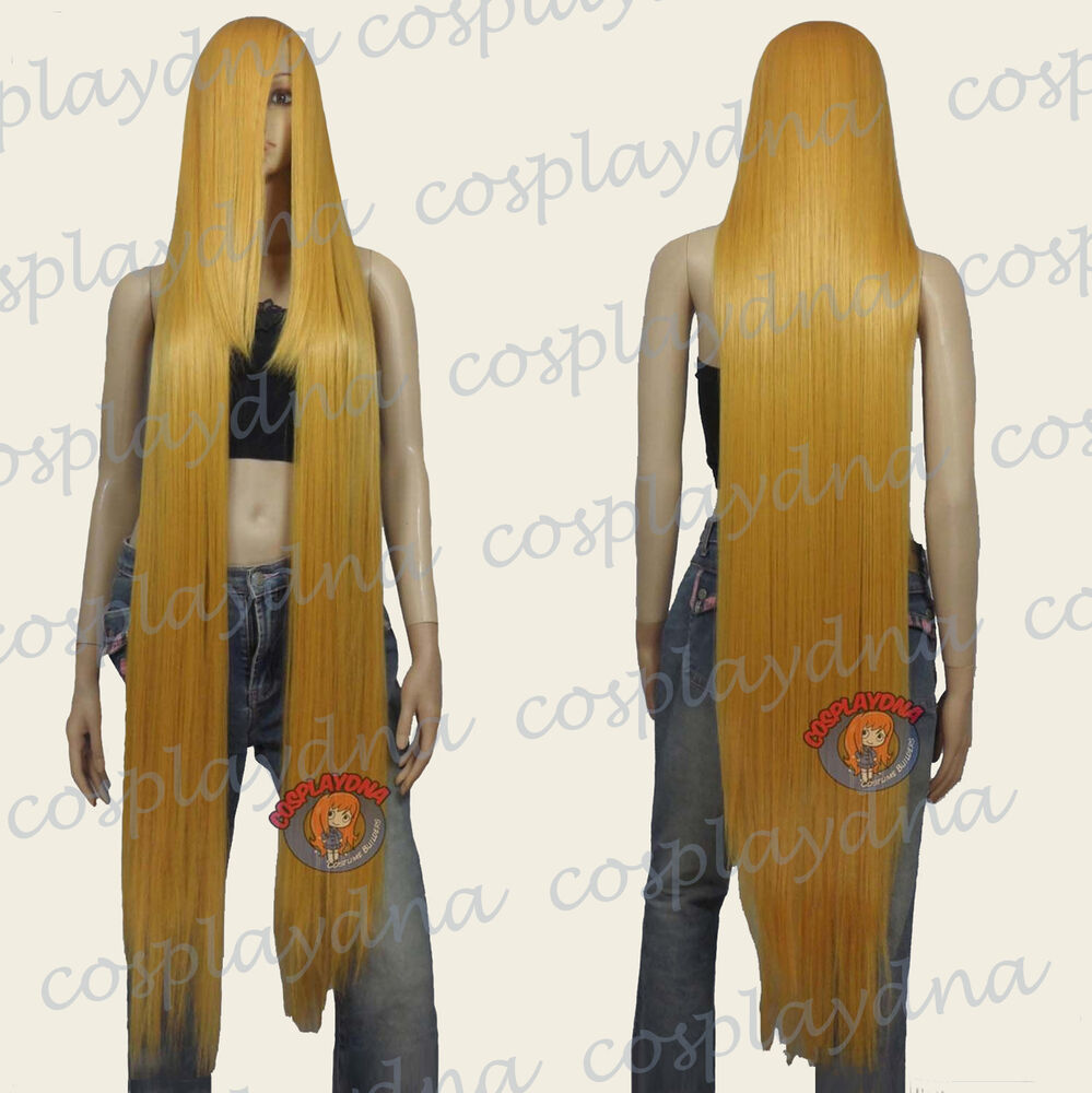 50 Inch Heat Styable Wigs W 22 Inch Extra Long Bang Golden