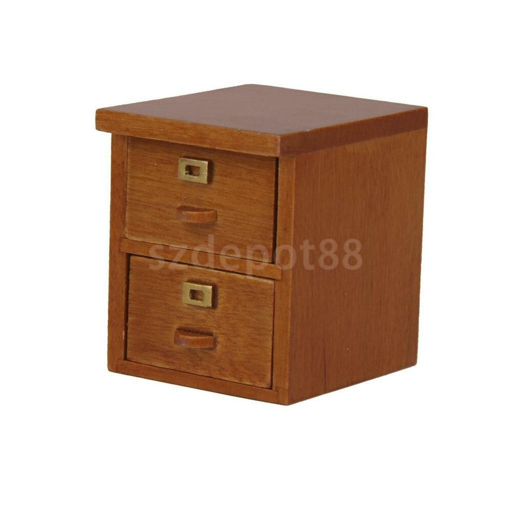 Doll house miniature wooden drawer filing storage