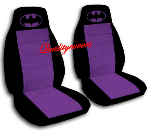 batman car seat covers in purple black velour front set ebay. Black Bedroom Furniture Sets. Home Design Ideas