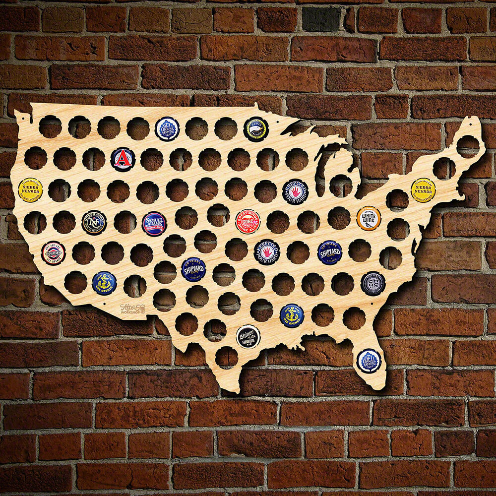 Beer Cap Map Of USA Natural Birch Finish Man Cave Wall