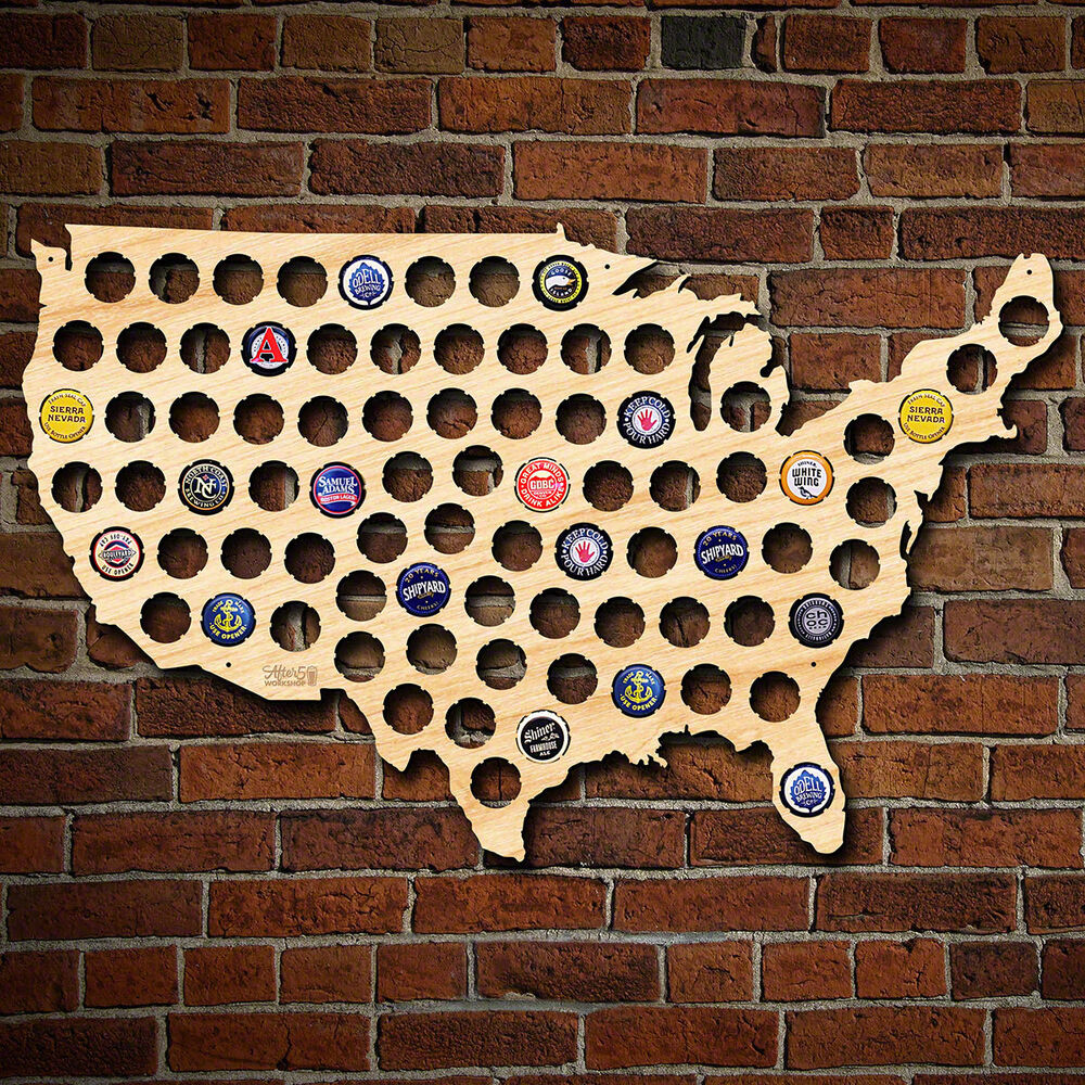 Man Cave Craft Eats All In One : Beer cap map of usa natural birch finish man cave wall