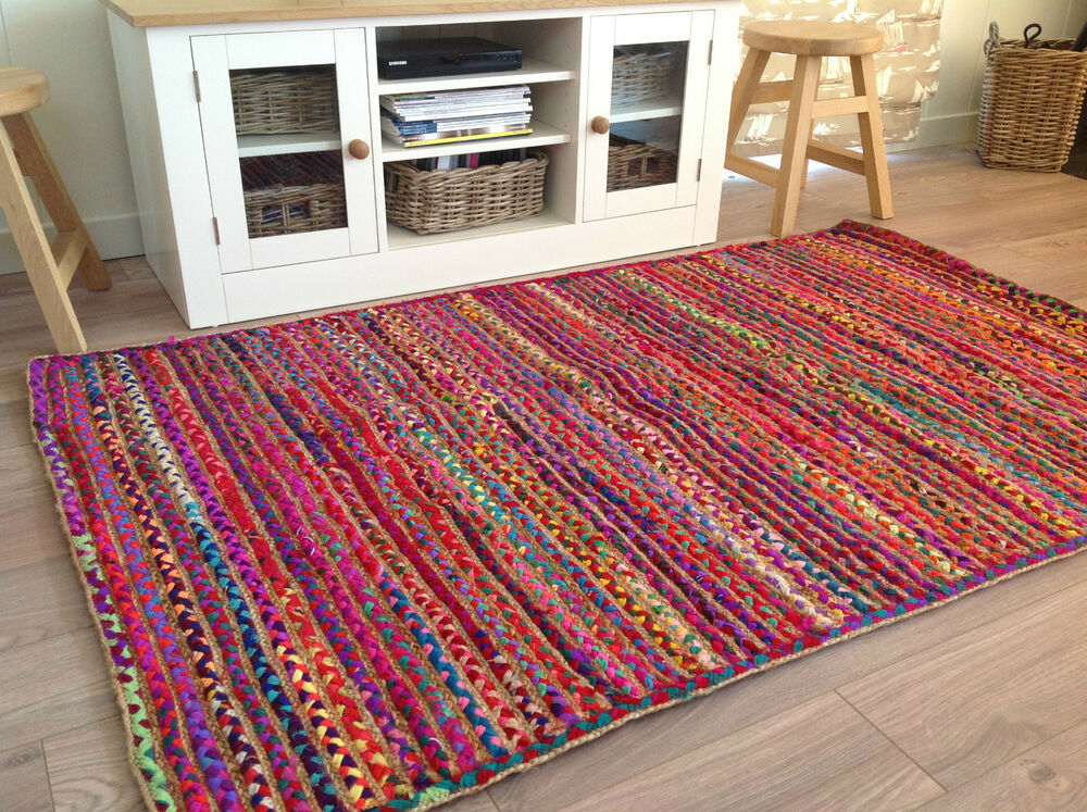 ️multi Colour Jute Cotton Braided Rug 120cm X 180cm