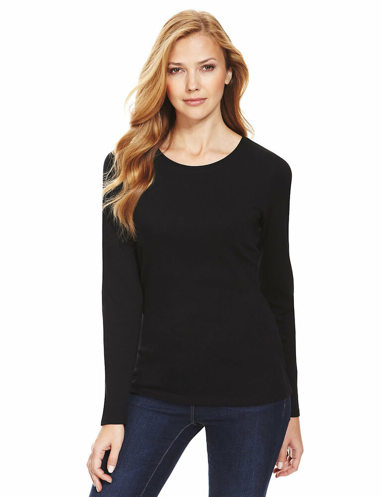 Marks & Spencer Womens Pure Cotton Long Sleeve New Black M ...