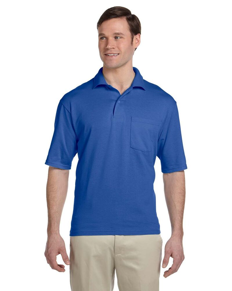 Mens New Jerzees Golf Short Sleeve Polo Shirt with Pocket ...