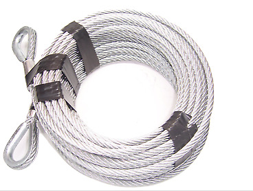 3 8 Steel Cable : Quot ft galvanized wire rope cable with thimble loops