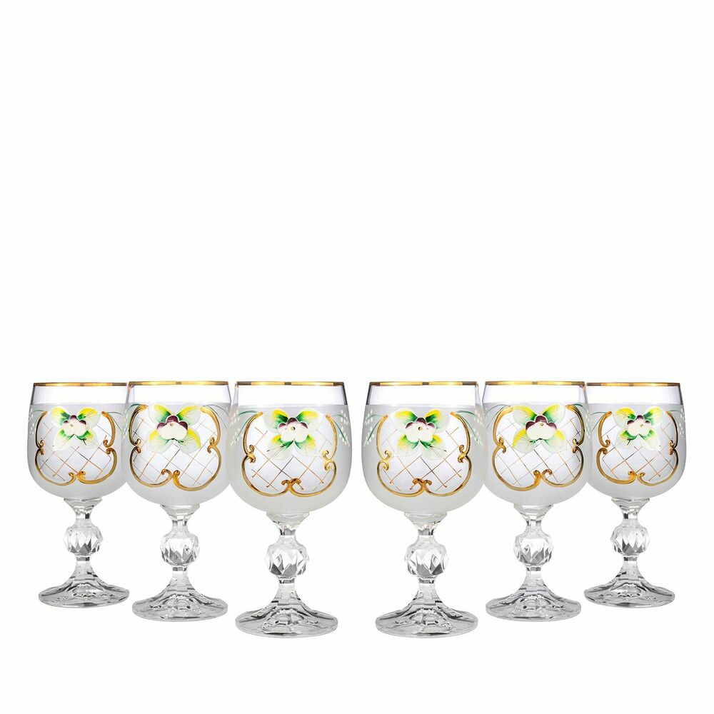Bohemian Crystal Colored Glasses 6 Pc Antique White