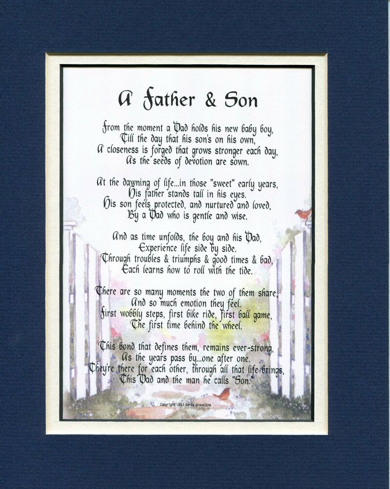 #25A Gift Present for Father or Son Poem Keepsake Fathers ...