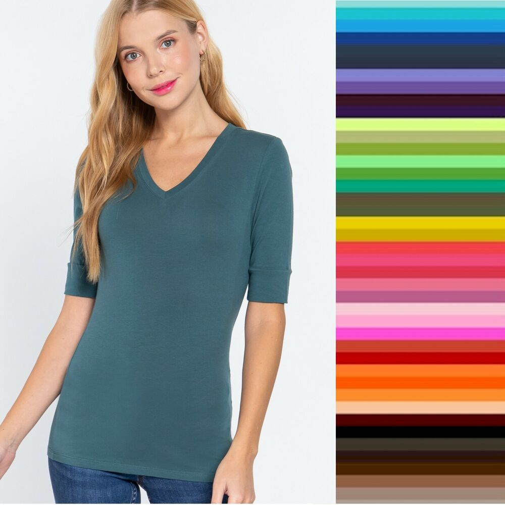 Active basic v neck elbow length 3 4 t shirt top plus size for Elbow length t shirts women s
