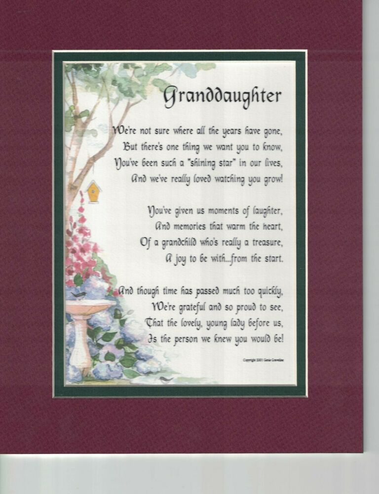 #43 Gift Present Poem For A Special Granddaughter 16th