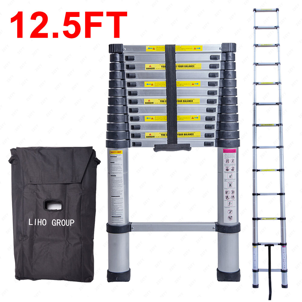 12 5 Extension Telescoping Aluminum Ladder : Ft aluminum multi purpose ladder telescoping