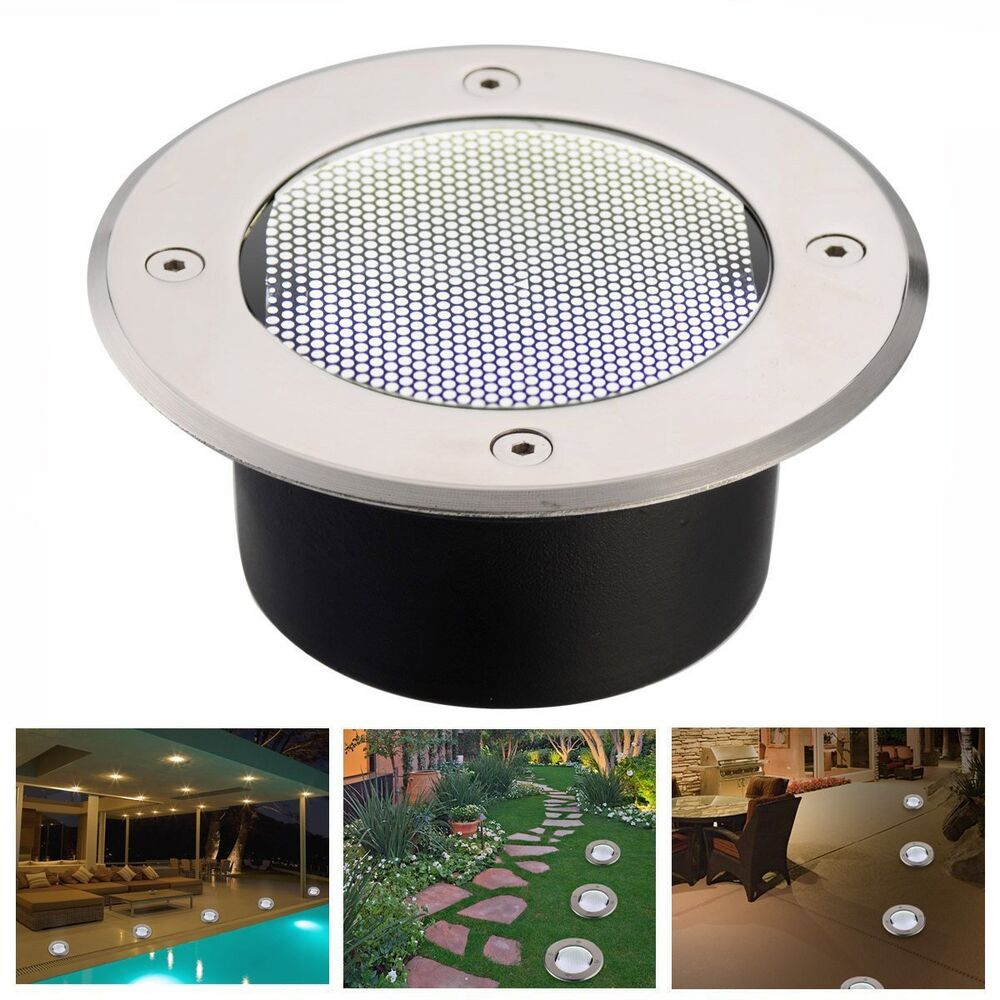 solar powered light led lamp stainless steel in ground outdo