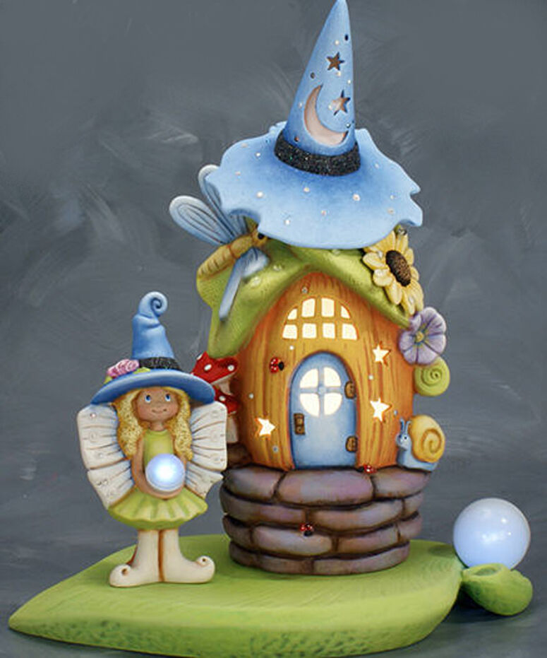Ceramic bisque ready to paint rose witch fairy house with for Ceramic house paint