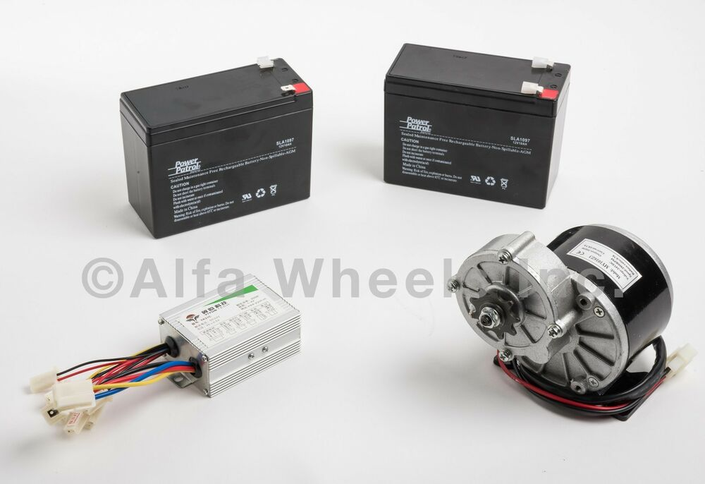 350 Watt 24 Volt Electric Motor Kit F Bicycle Gokart Gear W Batteries Control Ebay
