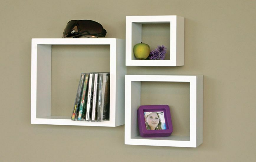 White Contemporary Floating Wall Shelves 3 Pk Display Cubes Home Decor Accent Ebay