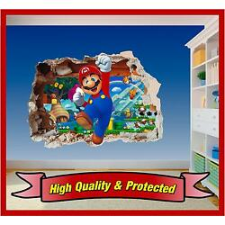 Super Mario Brothers Hole in Wall 3 - Print Vinyl Sticker Decal Children Bedroom