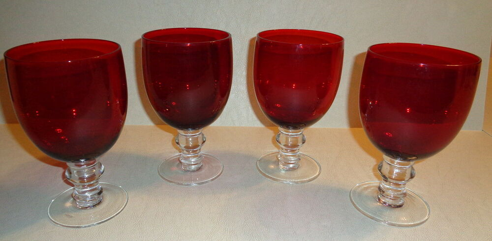 Vintage Ruby Red Wine Glass Red Glass Goblets Clear Base