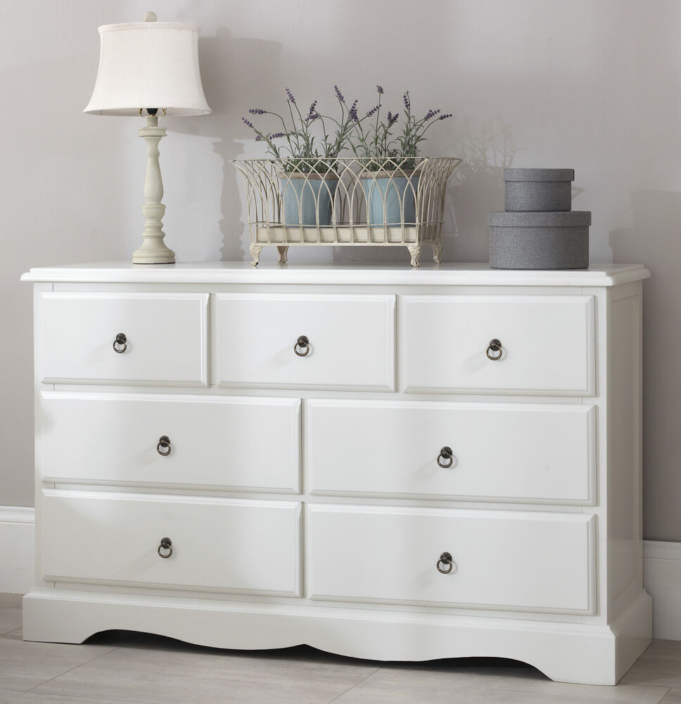 Romance large white chest of drawers french 7 drawer chest quality assembled ebay for Quality white bedroom furniture