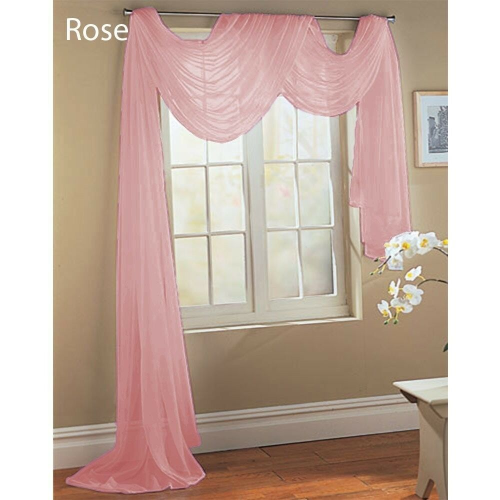 ROSE PINK SCARF SHEER VOILE WINDOW TREATMENT CURTAIN