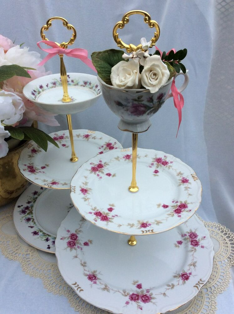 wedding cake stand s tiered serving tray 3 tier violets roses cupcake tower ebay. Black Bedroom Furniture Sets. Home Design Ideas