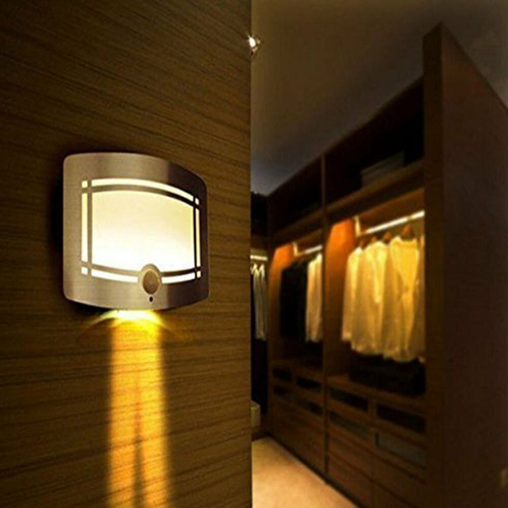Motion sensor activated led wall sconce battery operated wireless night light ebay - Battery operated wall light sconces ...