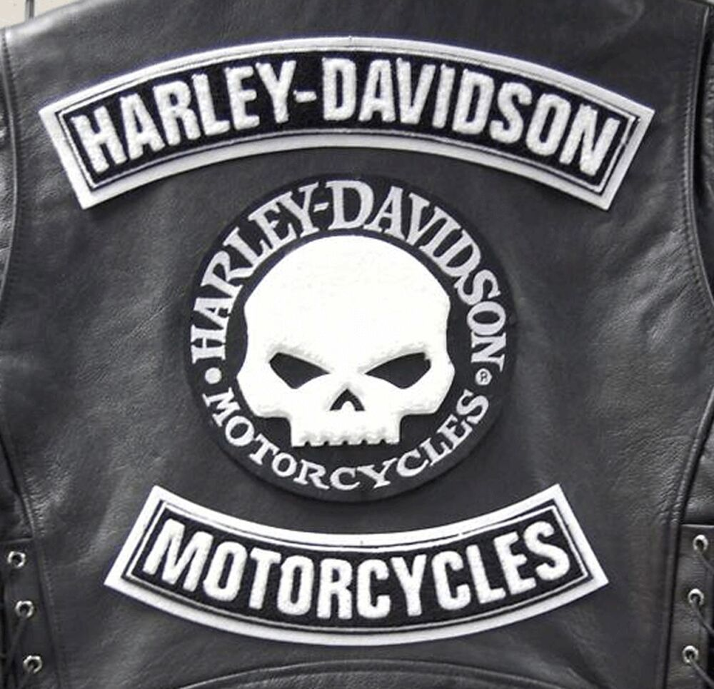 kit skull harley davidson jacke veste vest patches xl. Black Bedroom Furniture Sets. Home Design Ideas