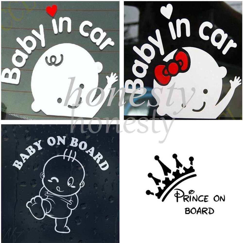 Baby on board sticker vinyl decal car laptop window wall for Getting stickers off glass