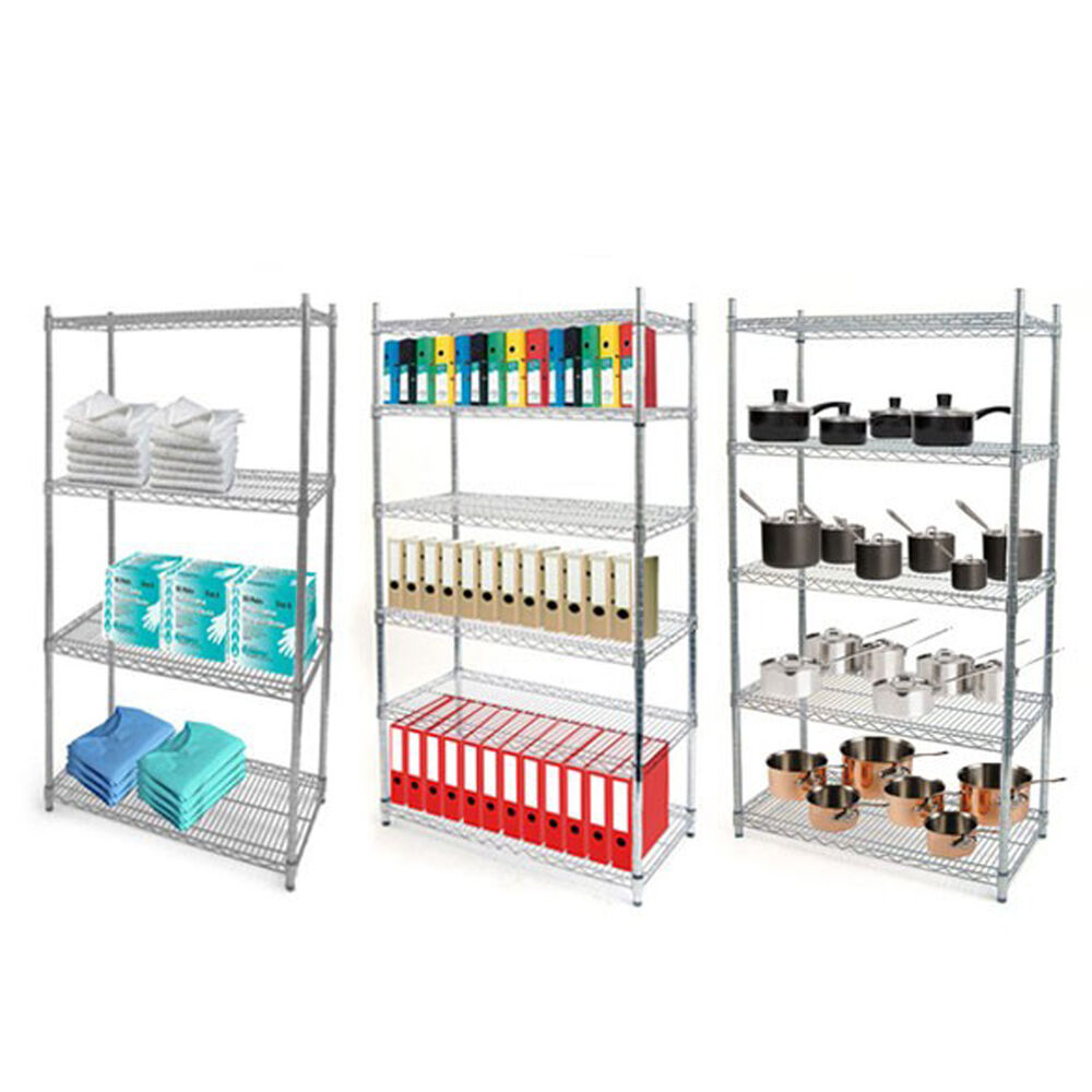 chrome wire 4 tier chrome wire shelving unit 1800mm high. Black Bedroom Furniture Sets. Home Design Ideas
