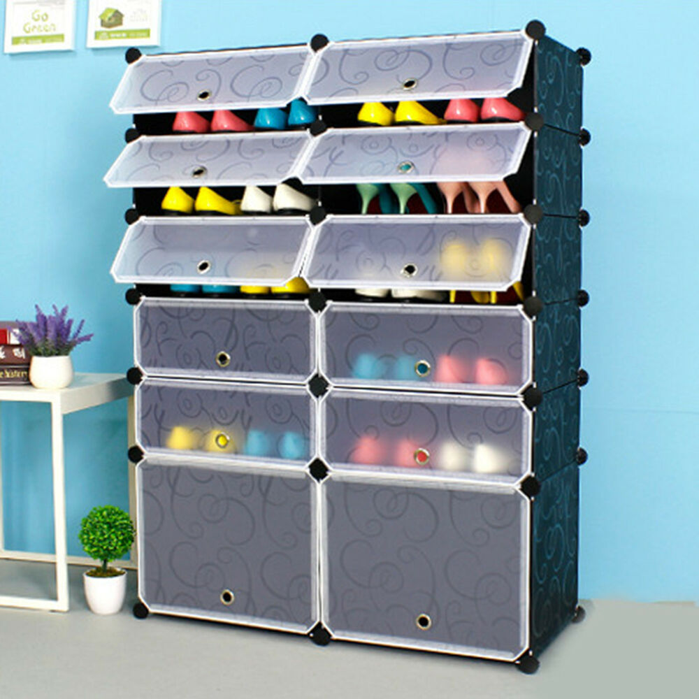 24 Pairs Shoe Interlocking Cube Storage Shoe Rack Stand