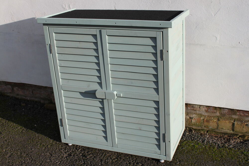 Outdoor garden wooden storage cabinet or tool shed in sage