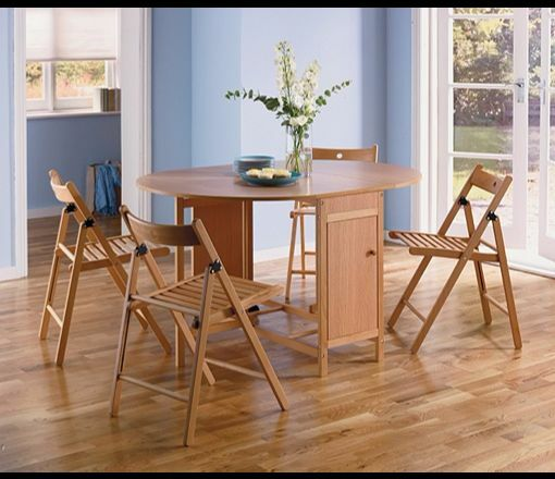 dining oval table and 4 oak stain chairs furniture house space saver