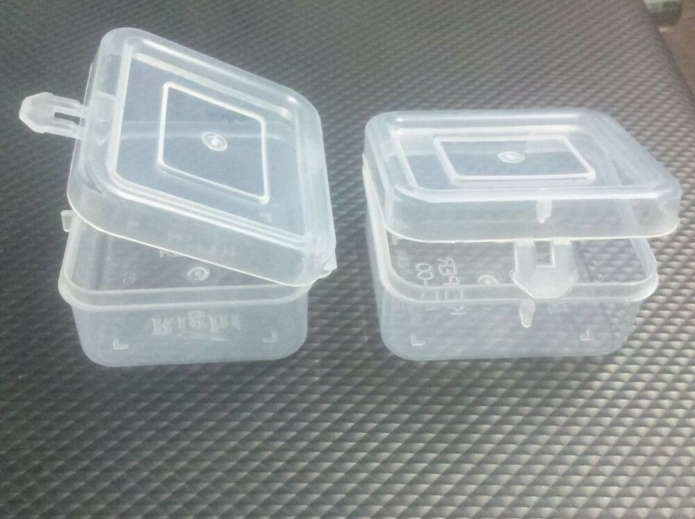 Clear plastic white boxes sqr container beads craft parts for Craft storage boxes plastic