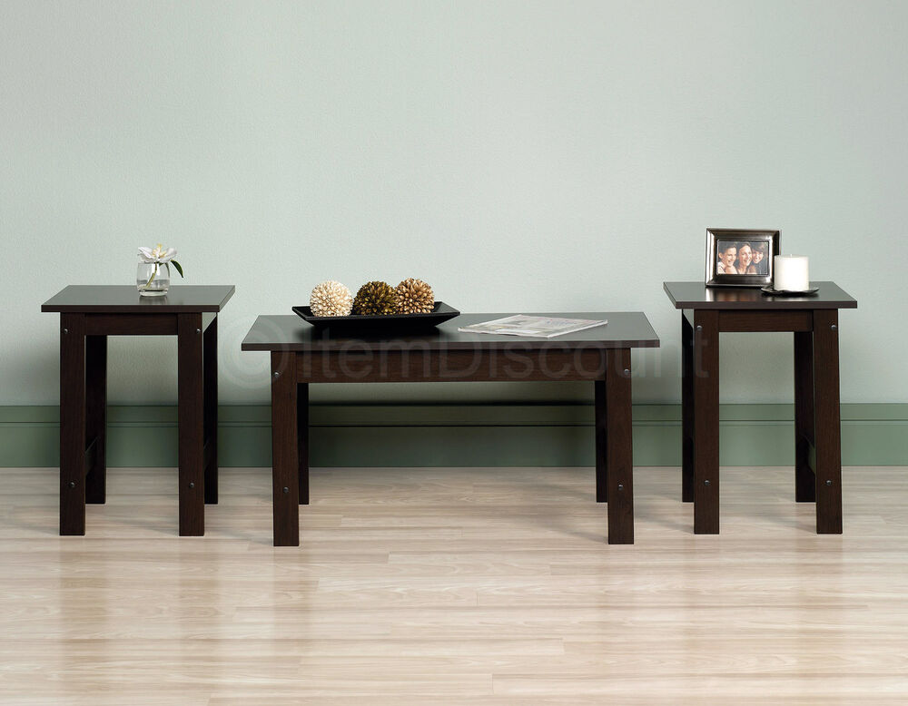 livingroom table sets 3 piece coffee table set living room sofa accent end corner display cherry oak ebay 4698