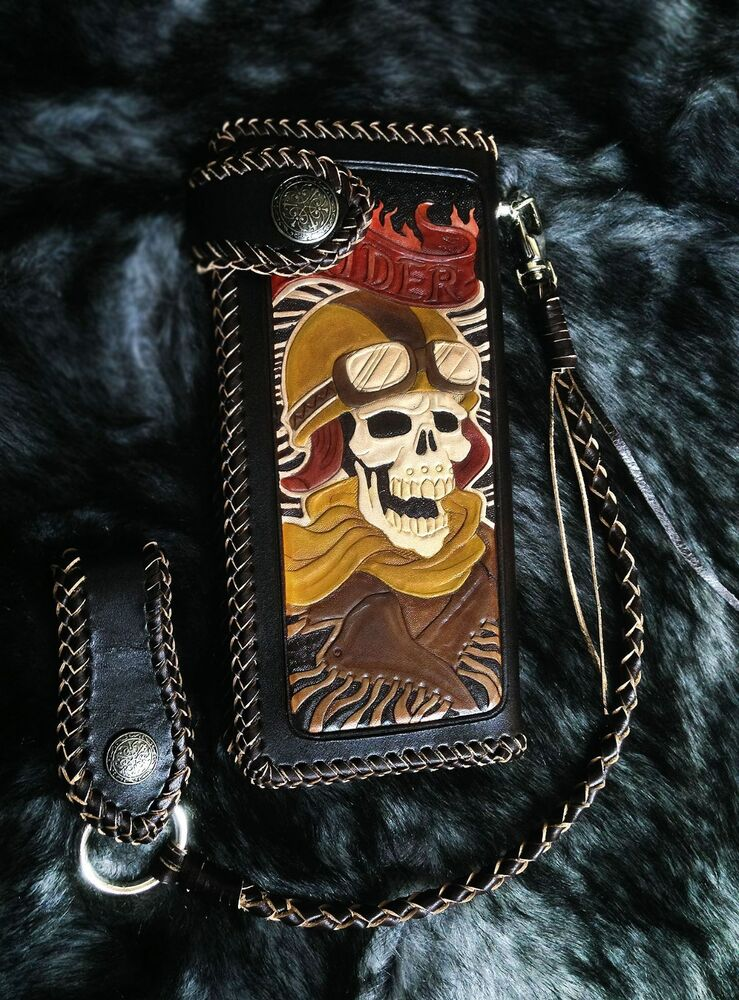Rider Skull Men Biker Long Wallet Brown Handmade Genuine