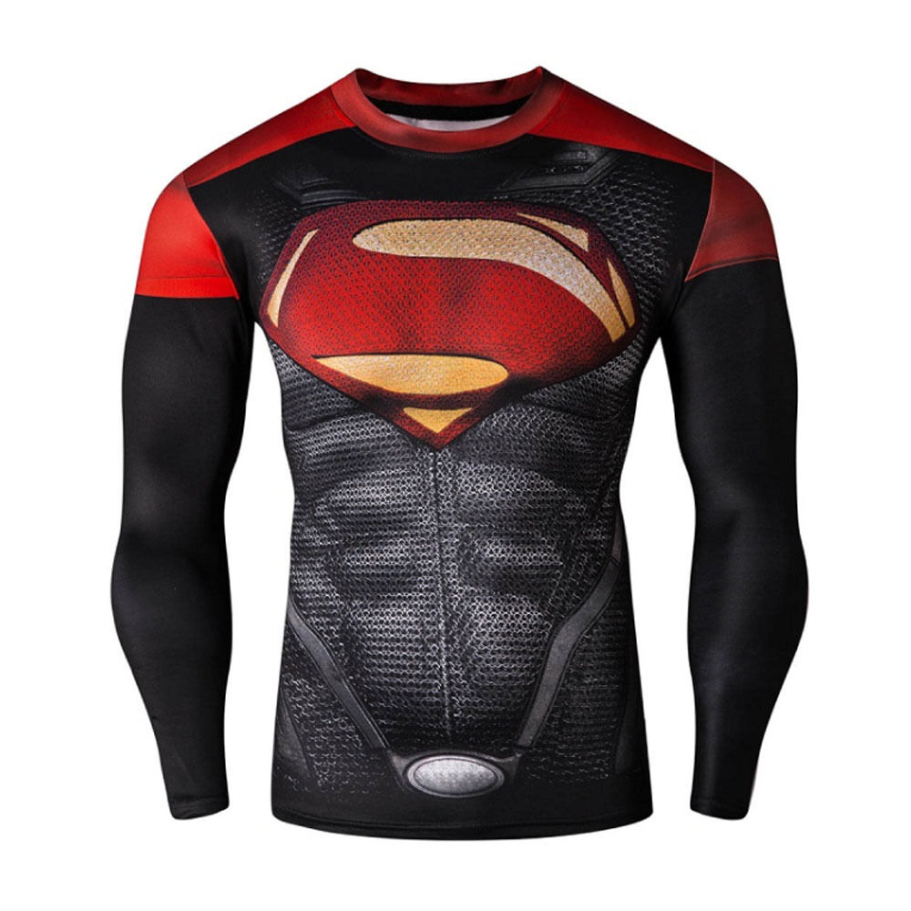 Superman style c men compression shirt top long sleeve for Best long sleeve shirts for men