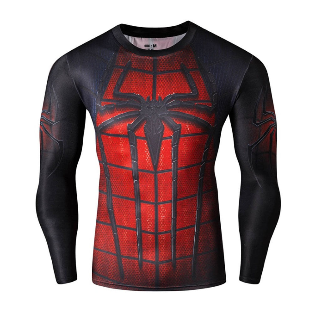 Spiderman red men compression shirt top long sleeve tight for Best long sleeve shirts for men