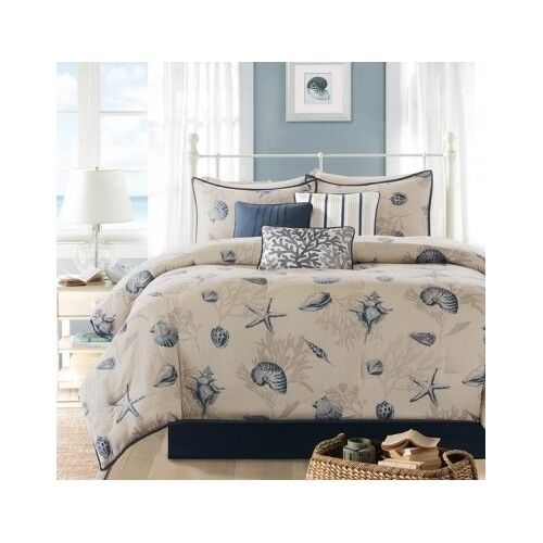 Bedroom Comforter Set 7Pc Bed In A Bag Beach House Sea