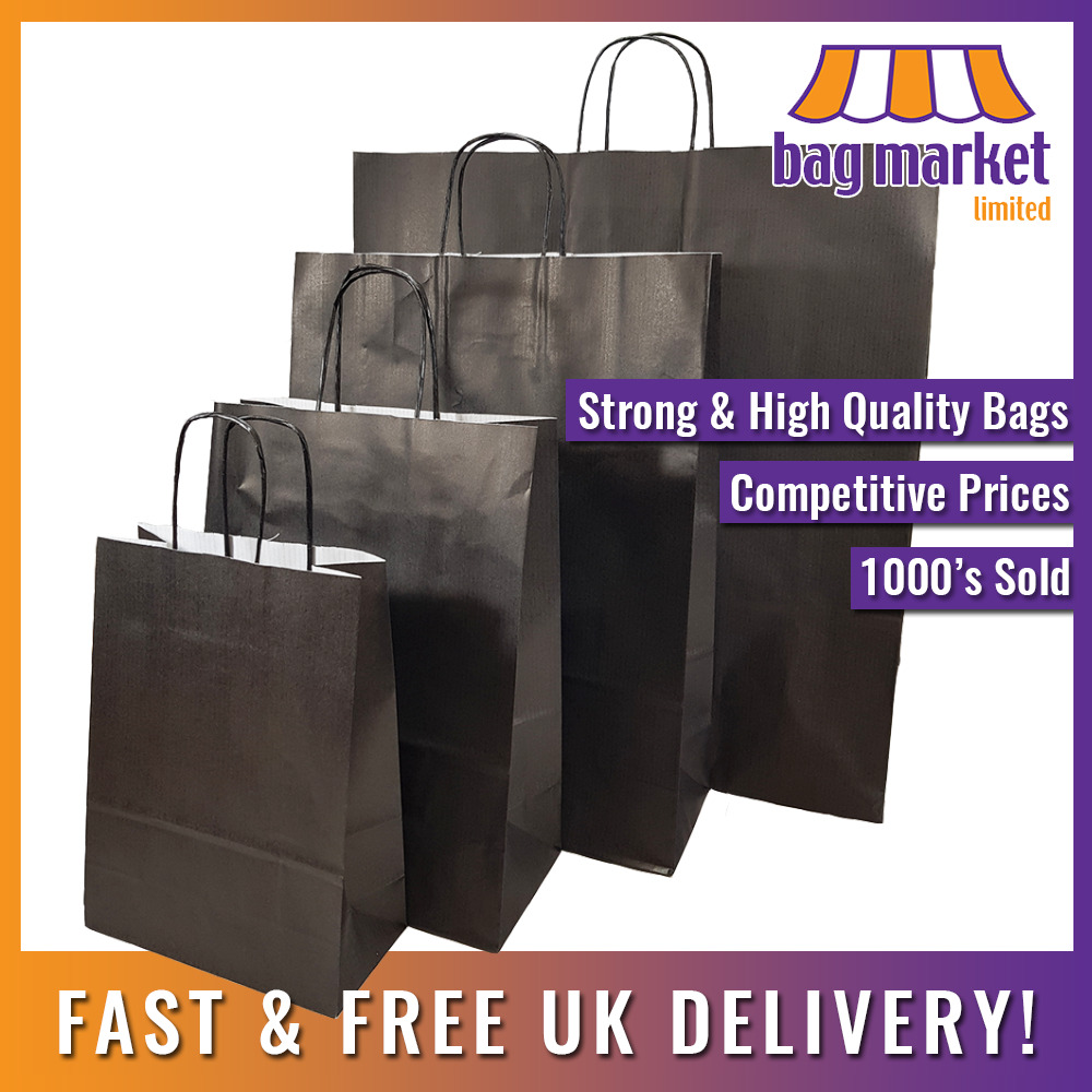 Strong Black Kraft Twisted Handle Paper Carrier Bags
