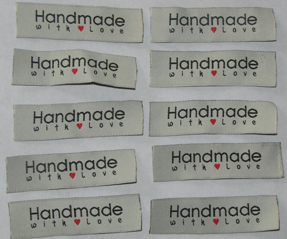 20 handmade with love sew on woven labels craft tags for Sew in craft labels