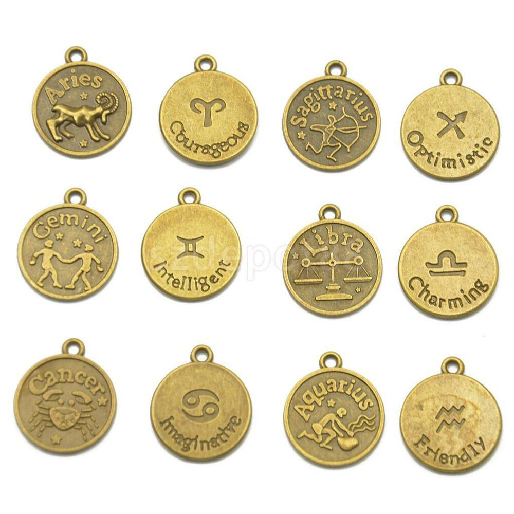 12 antique bronze horoscope zodiac star sign pendant charms jewelry findings ebay. Black Bedroom Furniture Sets. Home Design Ideas