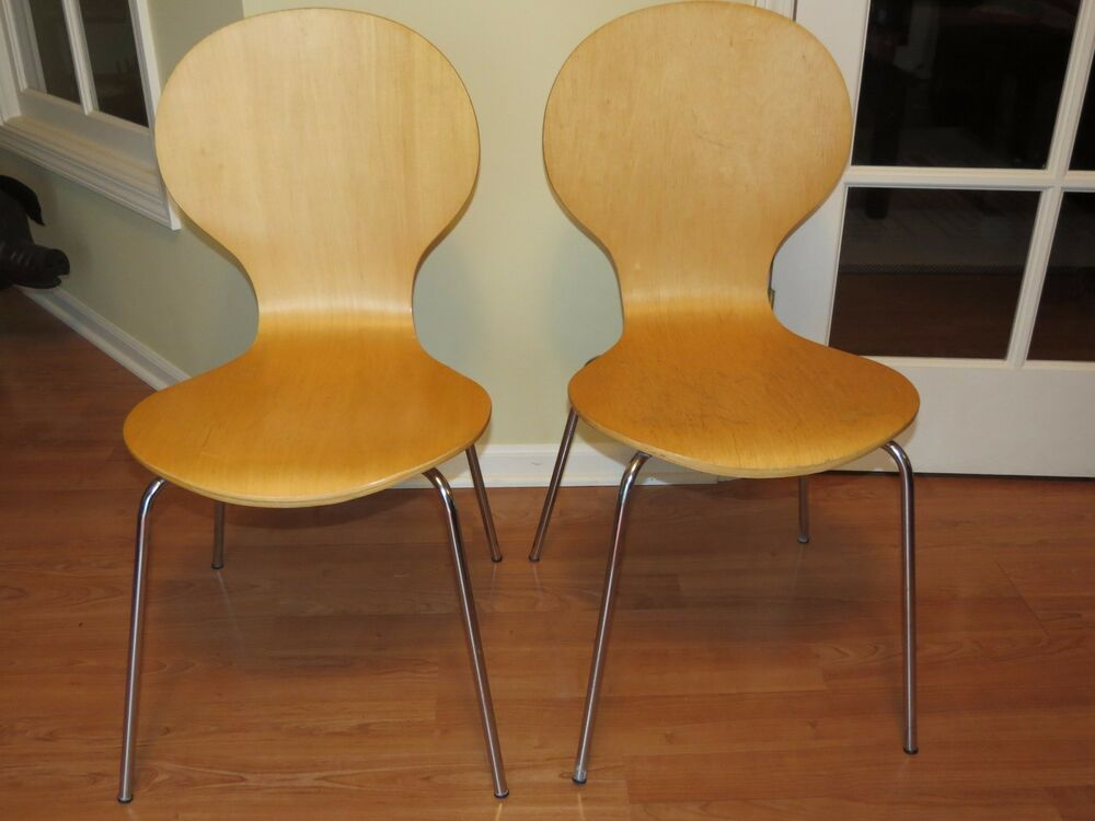 Vintage Pair Of Mid Century Modern Ant Chairs Bentwood