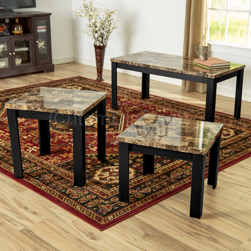 3 piece faux marble coffee table set living room sofa - Brickmakers coffee table living room ...