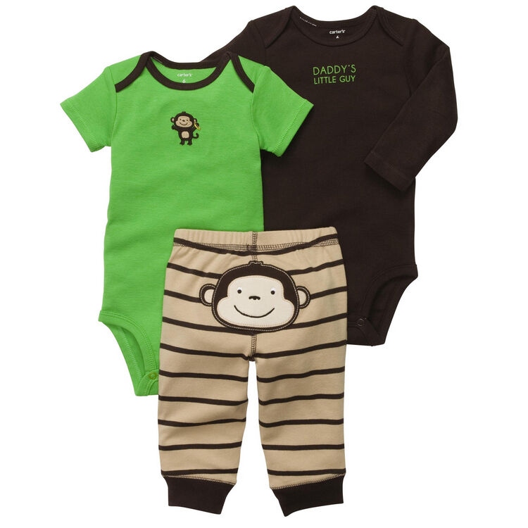 New Nwt Carters Baby Boys 3 Piece Bodysuit Set Clothes 12