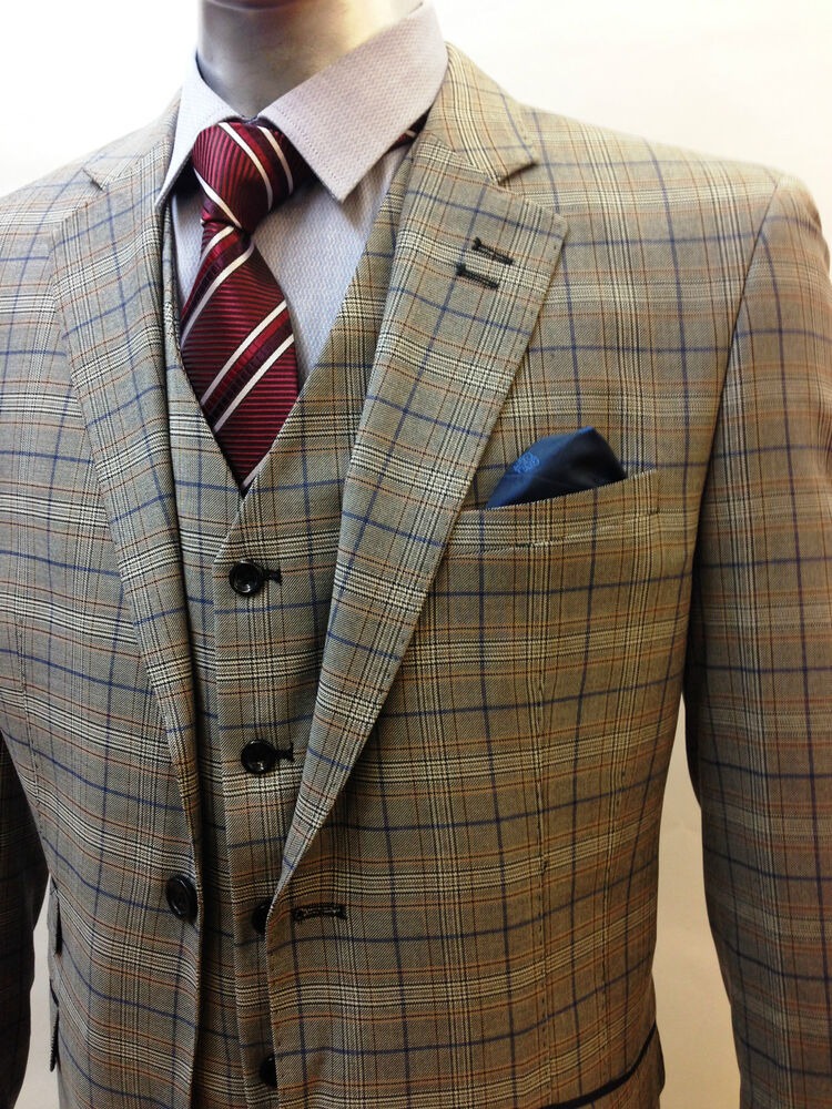 Designer Mens Checked Vintage 3 Piece Suit Blazer Jacket | EBay
